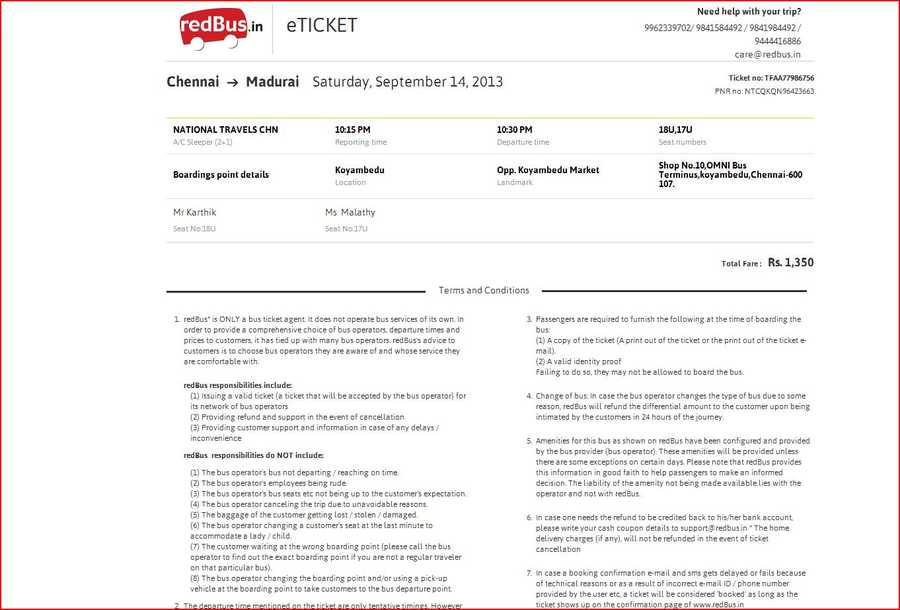 National Travels Chennai Complaints – Redbus Ticket Print