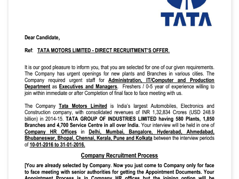Tata motors fake appointment letter complaints thecheapjerseys Image collections
