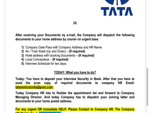 Tata motors fake appointment letter complaints thecheapjerseys Choice Image