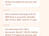 can't check data balance even after recharge
