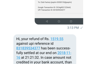 UPI transaction not reflecting in the account