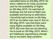 Given worng information by customer care and not get flight on 5 th may even flight were available
