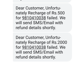 Regarding refund for failed transaction