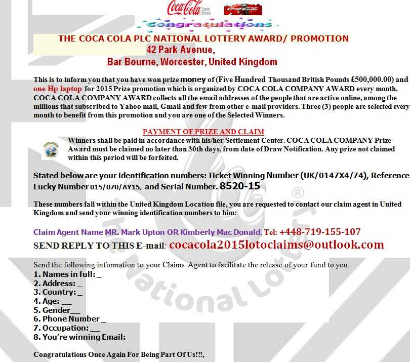 THE COCA COLA PLC NATIONAL LOTTERY AWARD/ PROMOTION Complaints