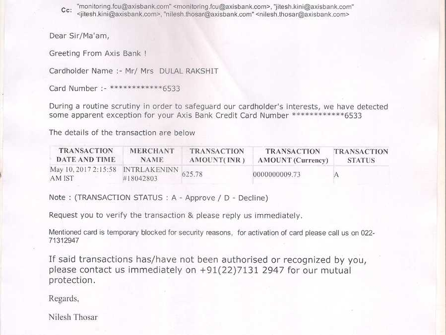 Axis Bank Complaints